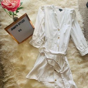 Who What Wear White puff button down dress